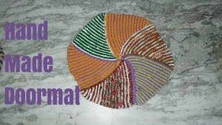 How to Make doormat from using old scarf/ dupatta. Diy very easy to make hand made doormat.