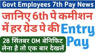 6th Pay Commission Entry Pay (Pay in Pay Band) for Grade Pay 1800,1900, 2000, 2800, 4200 to 10000