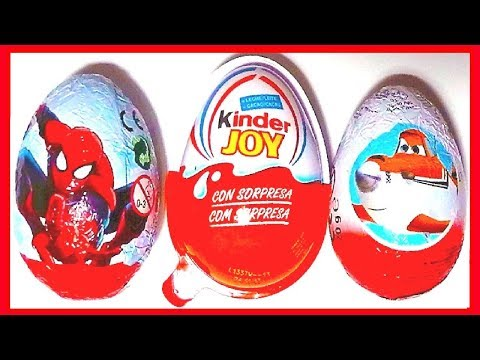 3 HUEVOS SORPRESA, AVIONES, KINDER JOY Y SPIDERMAN . COLECCIÓN 2013. KINDER SURPRISE Travel Video