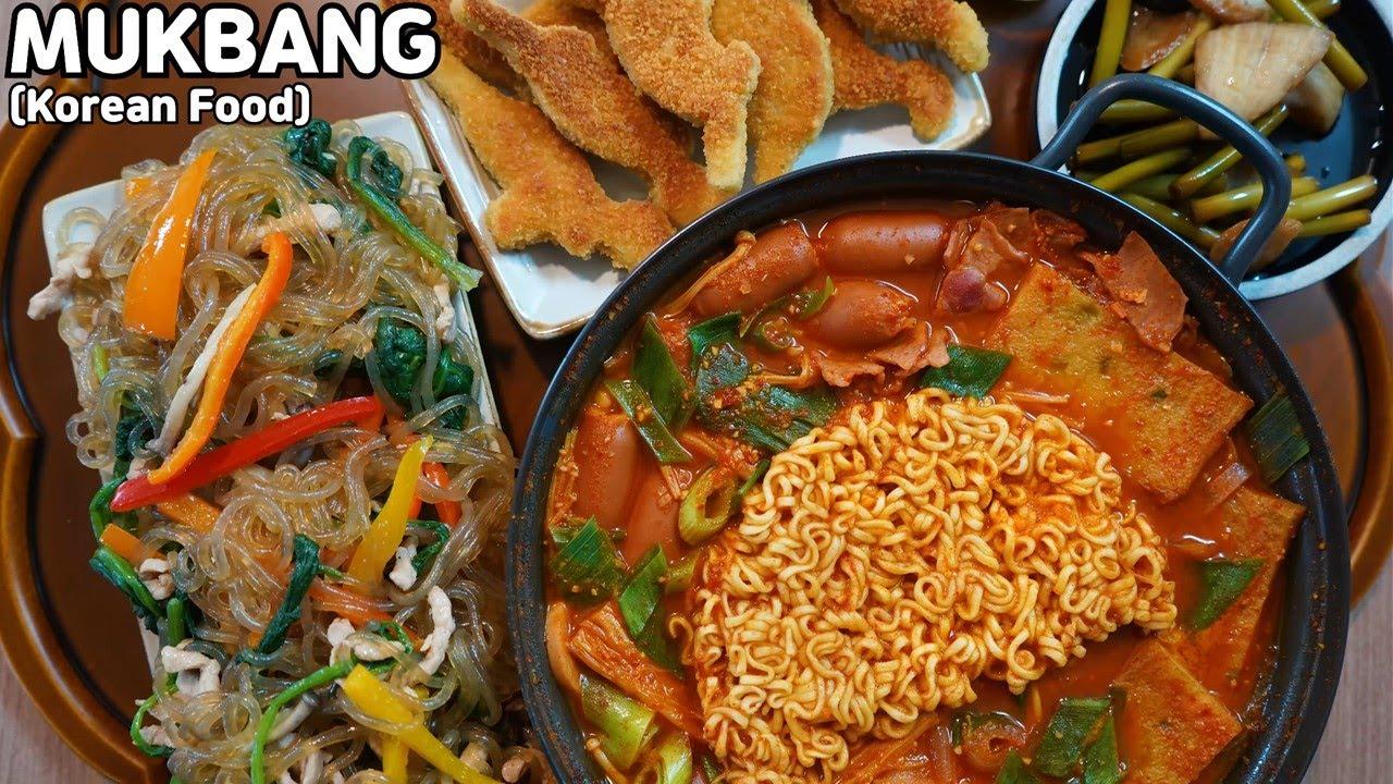 집밥먹방 부대찌개 잡채 용가리치킨 먹방 Budae jjigae & Japchae & Chicken Nugget MUKBANG ASMR REAL SOUND EATING SHOW