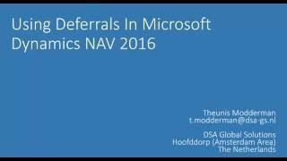 Deferral Posting in Microsoft Dynamics NAV