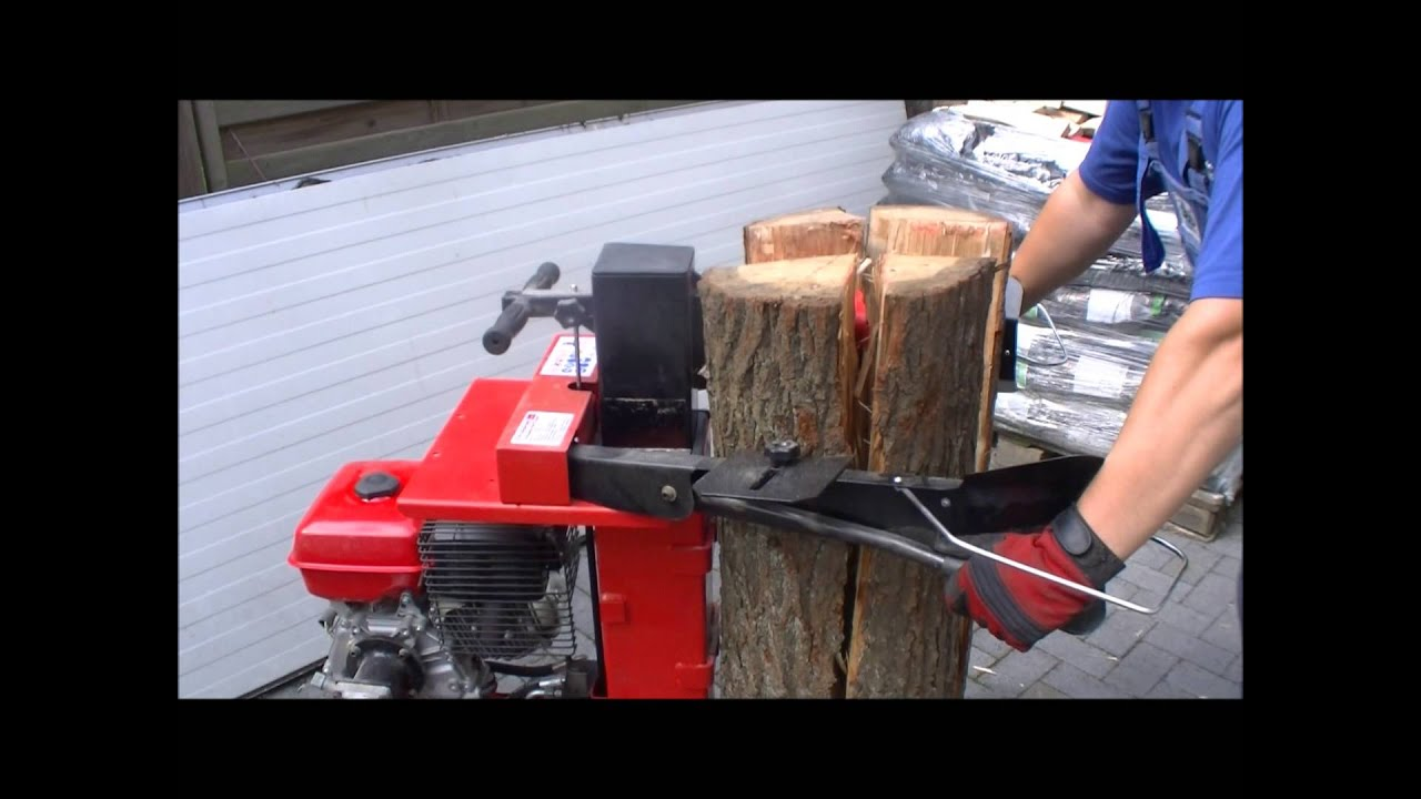 holzspalter stehend mit benzinmotor youtube. Black Bedroom Furniture Sets. Home Design Ideas
