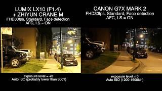 LUMIX LX10 + ZHIYUN CRANE M vs CANON G7X MARK 2 - Video Test Comparison