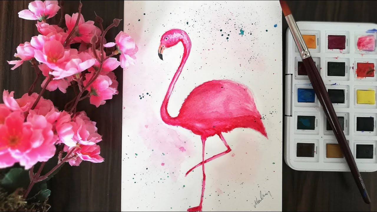 Flamingo Sulu Boya Calismasi How To Draw A Flamingo Youtube