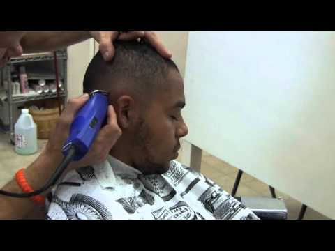 Mens Fade haircut with waves, part 2 video,fade without a line