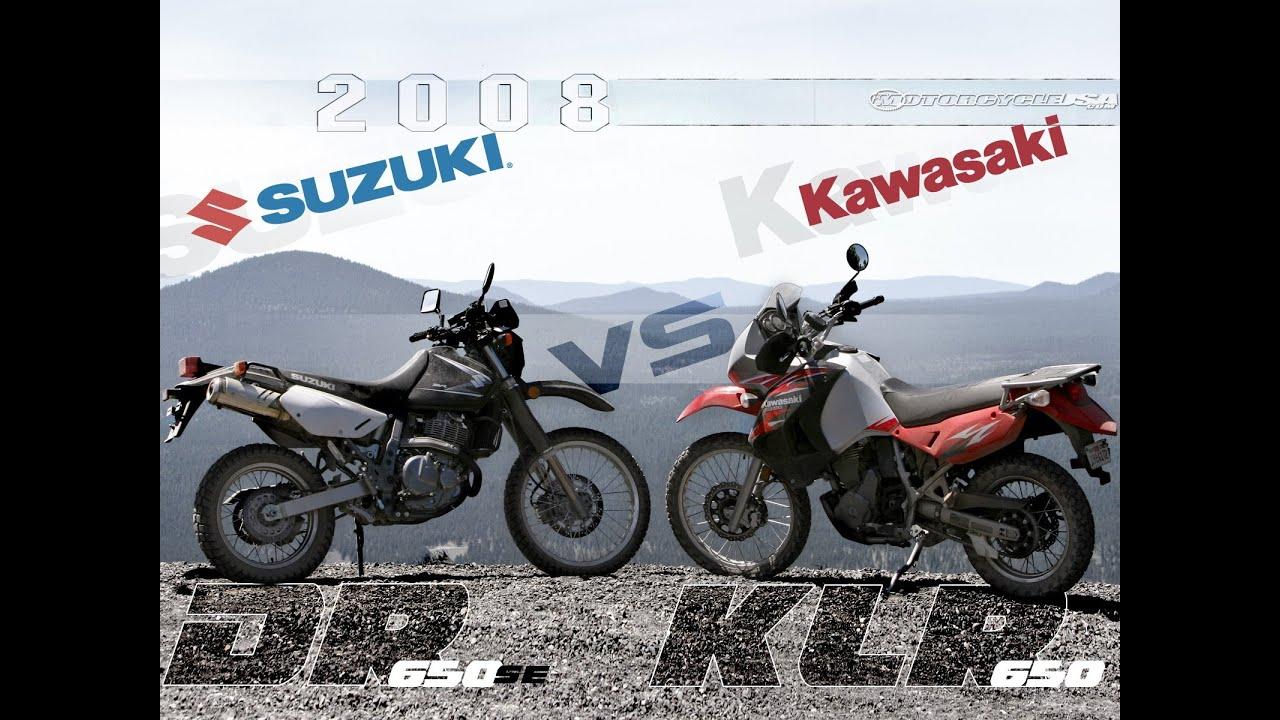 2008 kawasaki klr650 vs. suzuki dr650se preview - motousa - youtube