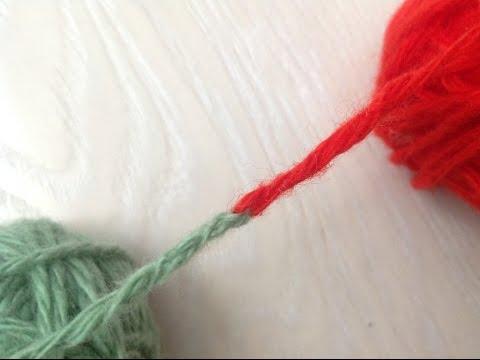 способ соединения двух нитей без узла при вязании с помощью иглы