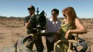 Mythbusters - Kari Byron - Chopping down a tree with a machine gun