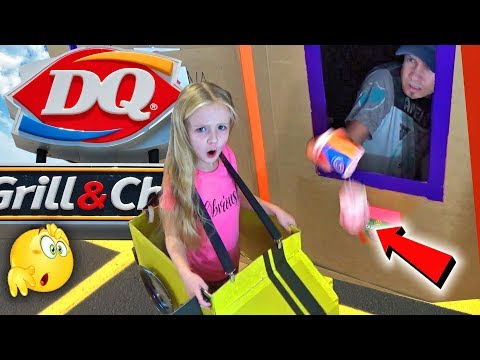 GIANT Box Fort Drive Thru - Driving Cardboard Box Cars to Dairy Queen (Bloopers)