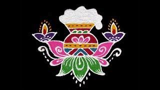 Simple Pongal Pot Rangoli 2019 | 5x3 Middle Dots Latest Sankranti Muggulu With Colors