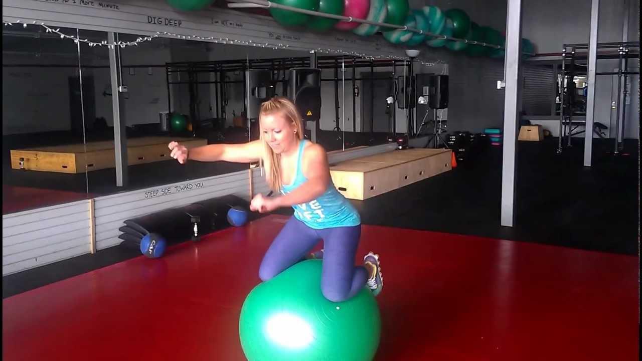 Swiss Ball Balance Drill (knees on) - YouTube