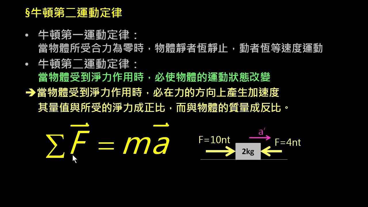 牛頓力學 【觀念】牛頓第二運動定律 - YouTube