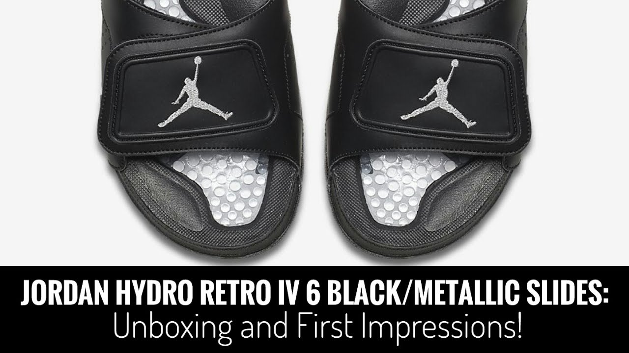 cae2aa0bbfa74e Jordan Hydro Retro VI 6 Black Metallic Slides  Unboxing and First  Impressions!