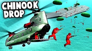 CHINOOK Paradrop To Take Over The Carrier! MISSION IMPOSSIBLE! (Ravenfield Best Mods Gameplay)