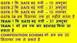 GSTR 1,2,3 DATE EXTENDED FOR JULY, TRAN 1 CAN BE REVISED, COMPOSITION SCHEME TILL 30th SEPT