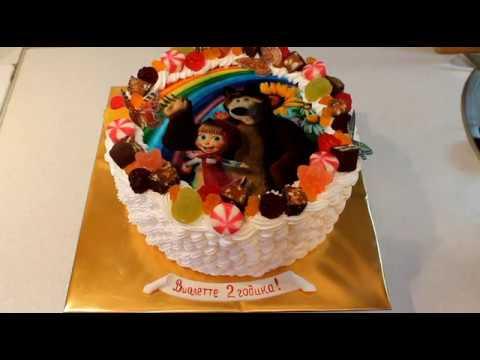 Детский тортик Маша и Медведь с вафельной картинкой