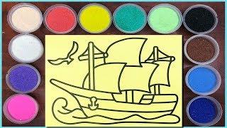 Đồ chơi trẻ em TÔ MÀU TRANH CÁT CON TÀU CÁNH BUỒM - Sand painting ship toys kids (Chim Xinh)