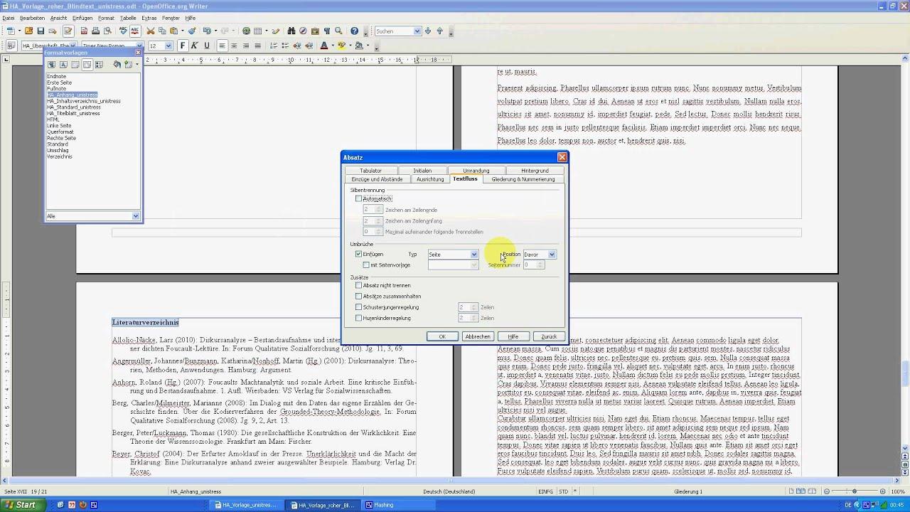 Hausarbeiten formatieren mit OpenOffice Teil 8 - Anhang mit neuer ...