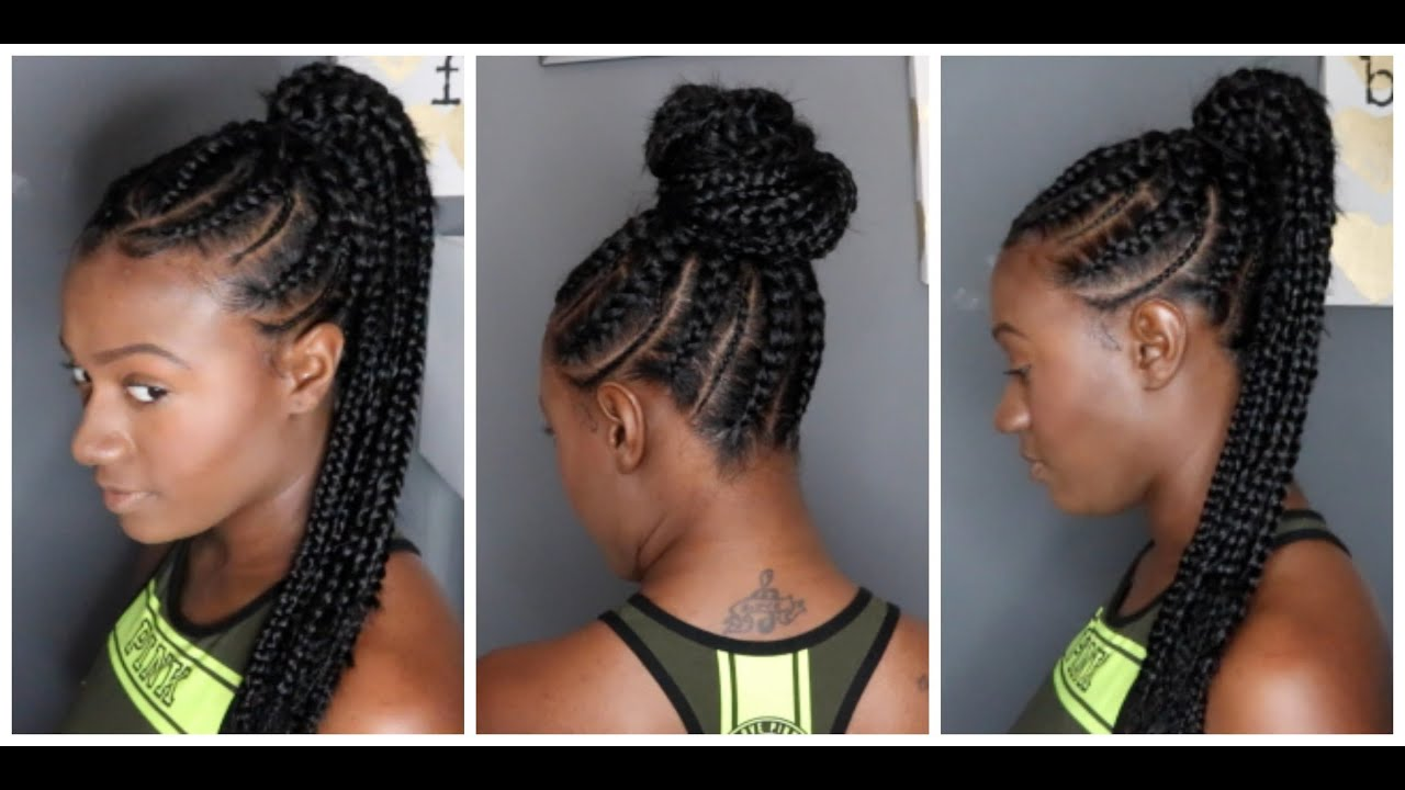 Feed In Braids Ponytail Youtube