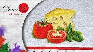 Aprenda Pintura Fácil Queijo e Tomates em Tecido
