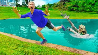 POND MONSTER IS ANGRY!! (Escapes Sharer Fam Water Slide)