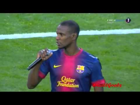 Tears for Eric Abidal in the last game in FC Barcelona