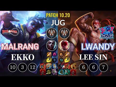 KT Malrang Ekko vs LNG lwandy Lee Sin Jungle - KR Patch 10.20