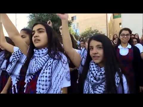 cute Arabic school  girls of palestine dance on palestine nationl song  دبكة