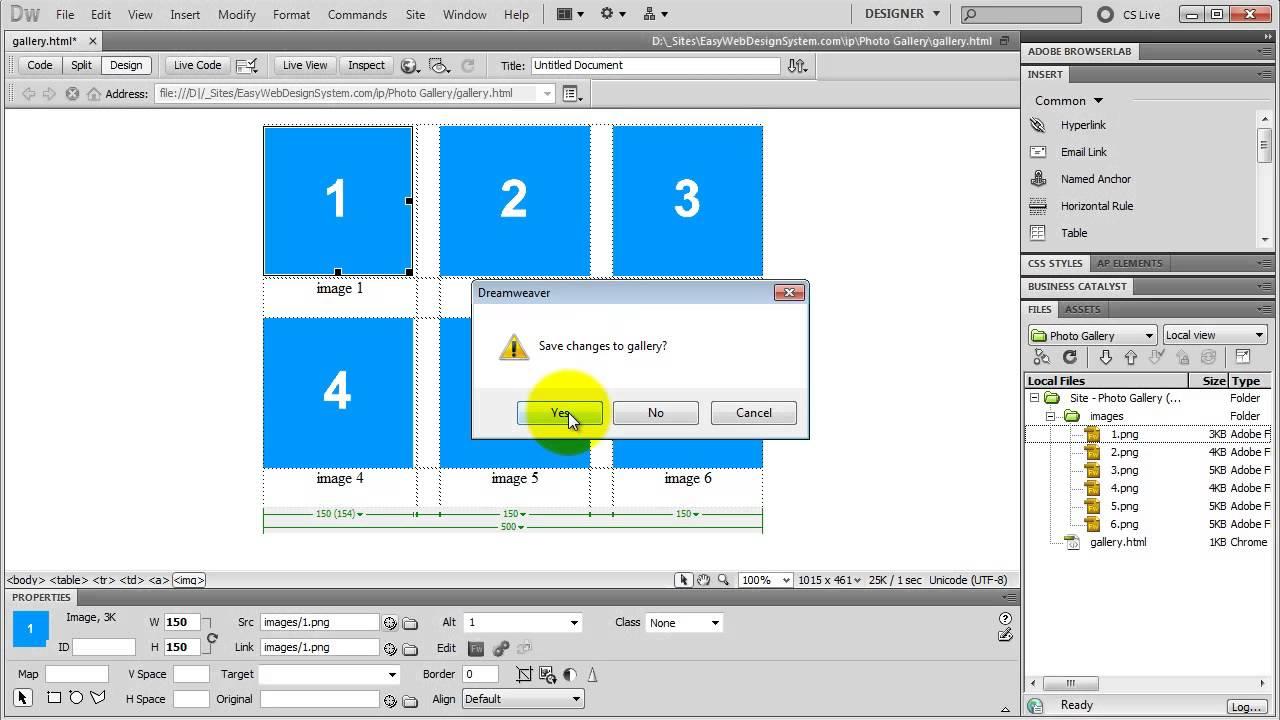 Create a Web Photo Gallery/Album in Dreamweaver - YouTube