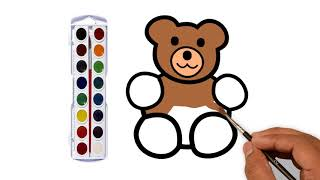 How To Draw Teddy Bear for kids | Drawing animals for kids