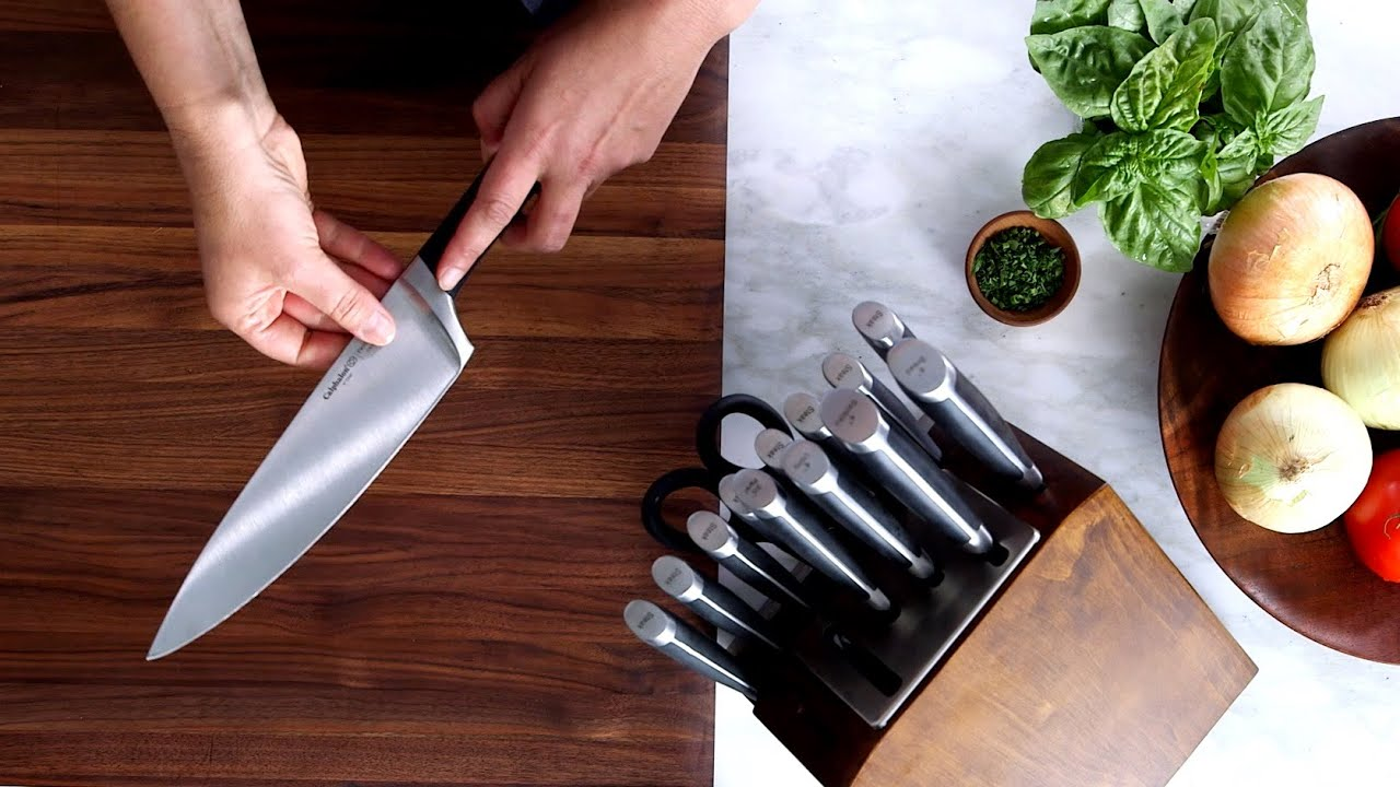watch it work: calphalon precision self-sharpening cutlery - youtube