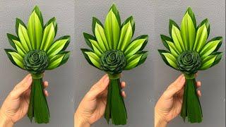 ช่อใบเตยดอกกุหลาบ แบบที่ 2 | พับใบเตยดอกกุหลาบดอกใหญ่ | Pandan leaves | MeeDee DIY