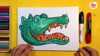 Как нарисовать КРОКОДИЛА. Урок рисования для детей от 3 лет, РыбаКит(Рисуем зеленого КРОКОДИЛА для детей.