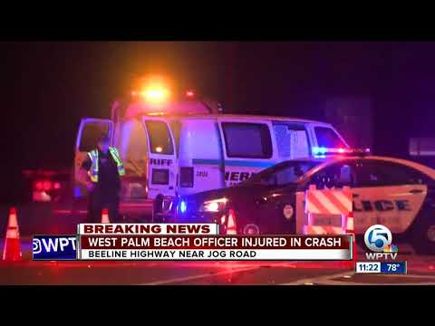 West Palm Beach police officer injured following vehicle vs. semi truck crash