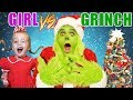 Girl vs Grinch Challenge! Will She Save Christmas? The Grinch in Real Life Again!