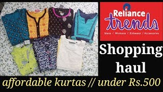 Reliance trends shopping haul // affordable kurtas under Rs.500 // women