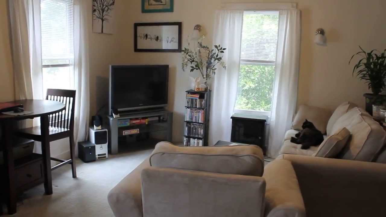 Living in a studio apartment youtube for Living room setups for apartments
