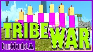 TRIBE WARS with FANS FAIL! PurpleFemBot 5v1 ~ HUT PVP WAR! (Roblox Booga Booga)