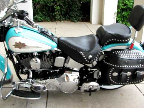 Classic EVO Heritage Softail Teal & Creme SE Pipes For Sale In Texas