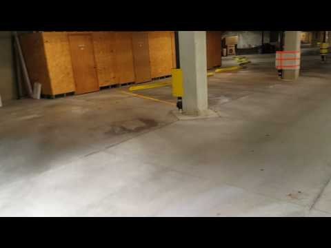 Walk through of concrete cleaning job before using the Turbo Force TH 40 Spinner and Concrete wheel