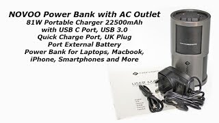 NOVOO Power Bank with AC Outlet 81W 22500mAh Portable Charger