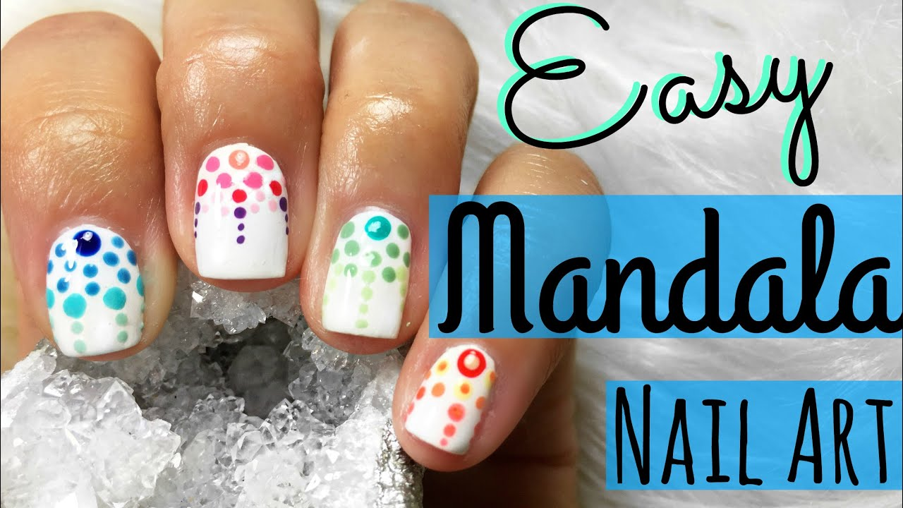 EASY Mandala Inspired Nail Art for Short Nails - YouTube