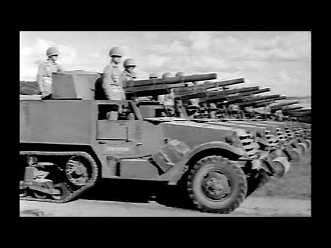 M3 Motor Gun Carriage Half Track Tank Destroyers at Camp Hood (1943 Restored)