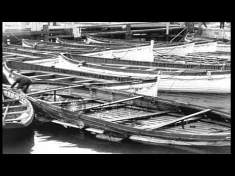 Life boats from the British passenger liner SS Arabic that was sunk by a German s...HD Stock Footage