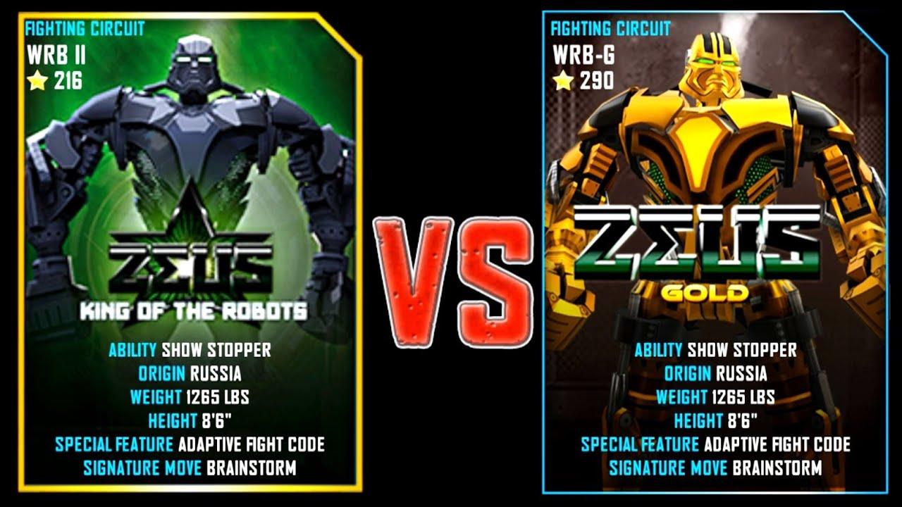 real steel wrb zeus (champion) (216) vs zeus gold (champion) (290