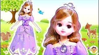 リカちゃん DIY粘土ドレス❤ディズニープリンセスのソフィアの衣装を手作り⭐変身してインスタグラムにアップするよ♪おもちゃ 人形 アニメ thumbnail