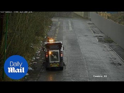 Council worker driving sweeper along road avoids ALL litter - Daily Mail