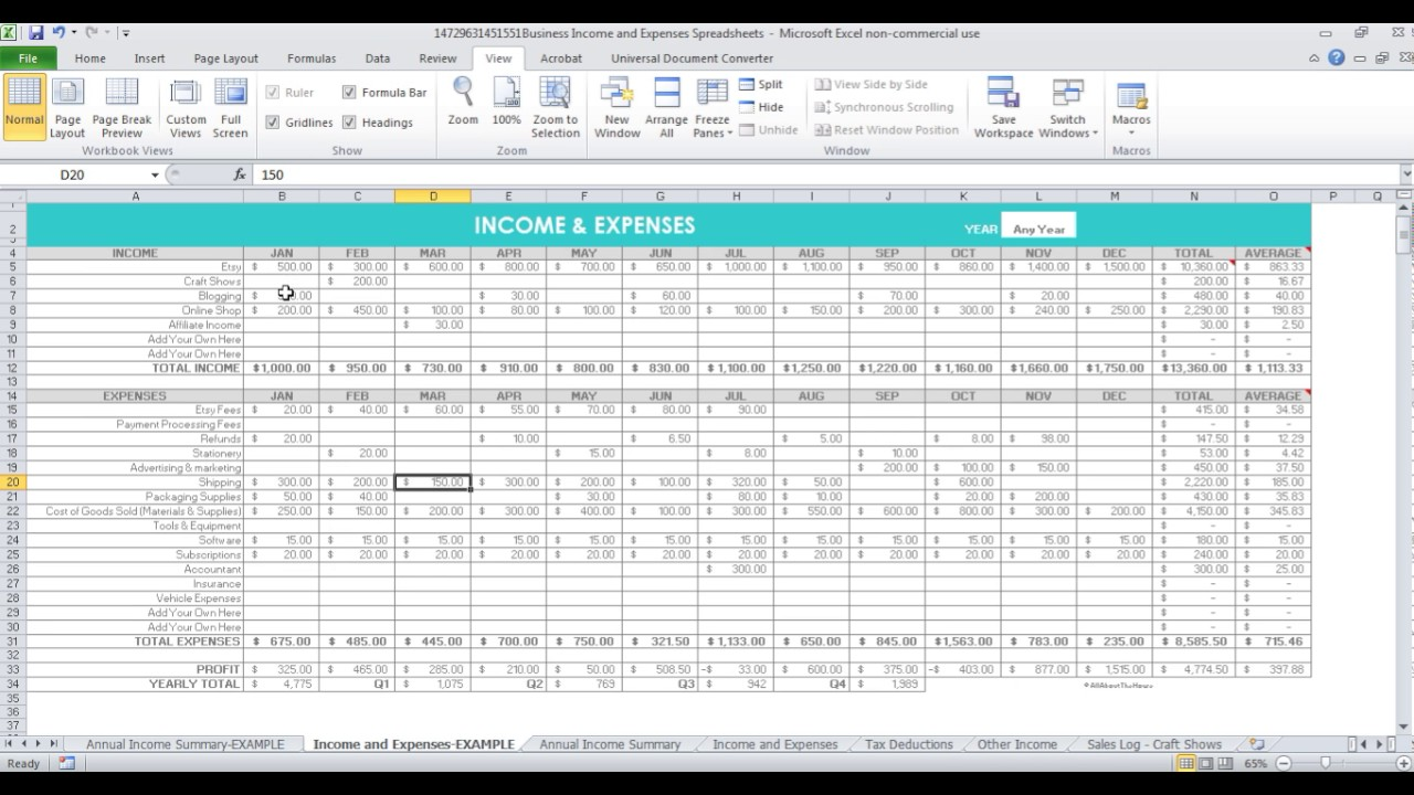 Spreadsheets to keep track of income and expenses for Etsy sellers & online business owners