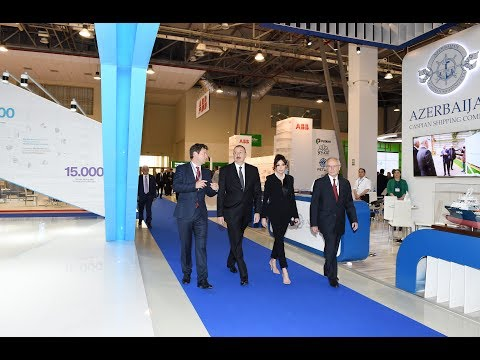 """Ilham Aliyev and Mehriban Aliyeva attend the opening of the """"Caspian Oil and Gas-2017"""""""