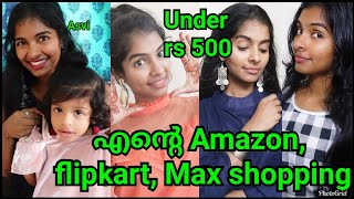 എന്റെ Amazon, Flipkart, Firstcry, Max haul|Under rs 500|Jeans tops&baby dress haul|Asvi Malayalam